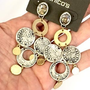 Chico's Long Drop Coin Earrings
